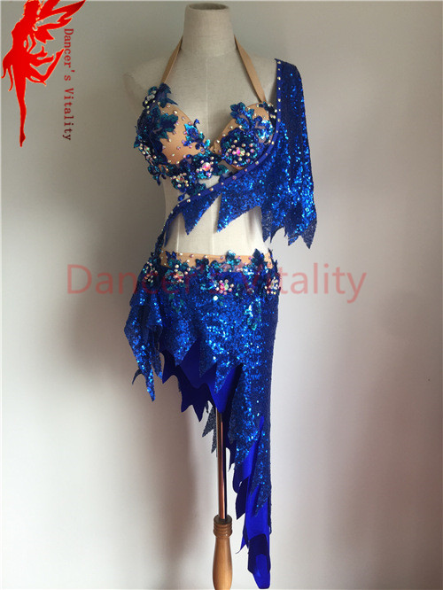 Belly dancing clothes Performance clothing purple crystal bra top+short skirt 2pcs girls dance suit for women belly dance set