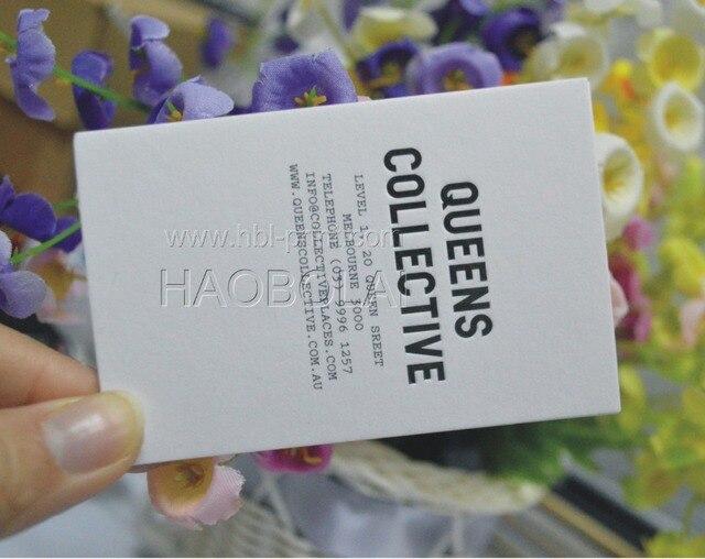 630 G Daffaires Carte De Papier Coton Blanc En Creux LOGO Taille