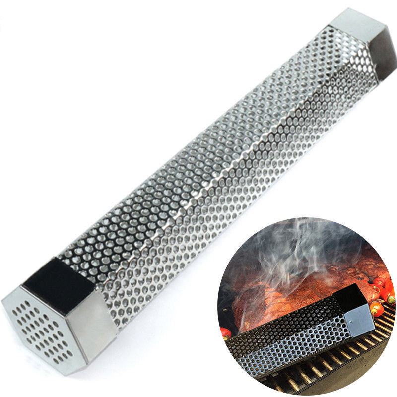 6/12 inch Stainless Steel Hexagon Pellet Tube Smoker Pipe For Beans Peanut BBQ