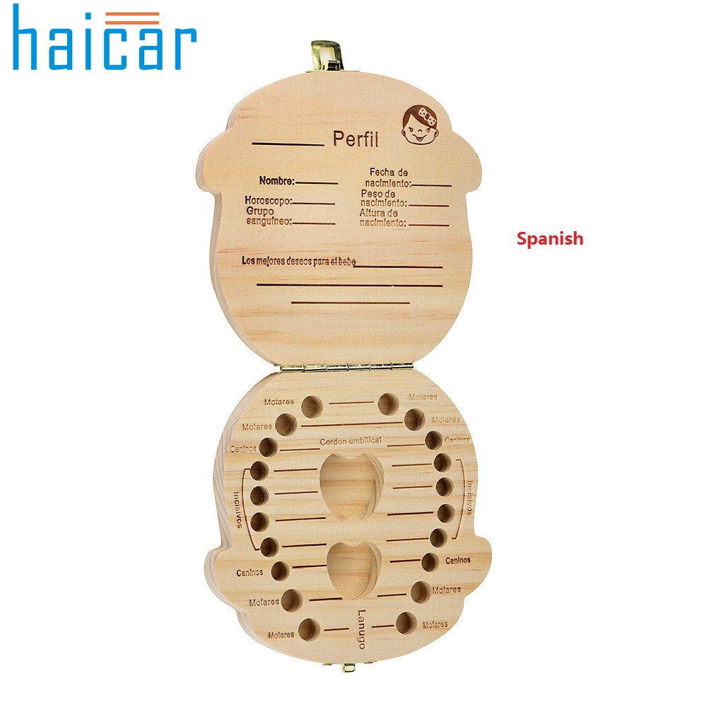 Haicar Tooth Box organizer for baby Milk teeth Save Wood storage box for kids Boy Girl for Spanish u70330