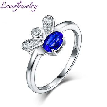 c2fdb34d629e LOVERJEWELRY mariposa mujeres anillos 14 K oro blanco Diamante Azul zafiro  anillo aniversario anillo joyería fina