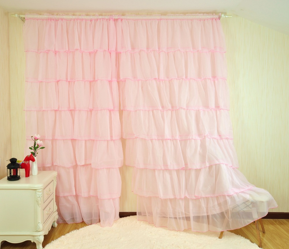 Pink Living Room Curtains Us 21 49 17 Off European Sweet Lotus Leaf White Green Yellow And Pink Curtains For Princess Room Tulle Panels Curtains For Living Room Hp011 20 In