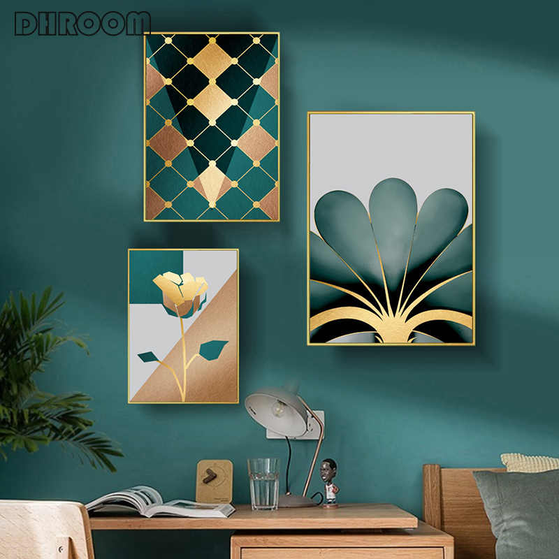 Posters and Prints Golden Modern Minimalistic Wall Art Geometric Floral Abstract Canvas Painting Nordic Decorative Painting