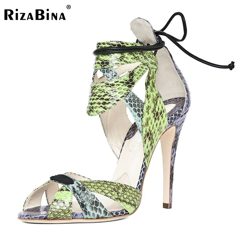 RizaBina Lace Up Women High Heels Sandals Summer Shoes Woman Party Wedding Ladies Gir Gladiator Cut-Out Sandals Size 35-46 B031 fashion suede women high heels gladiator sandals lace up honeycomb sexys cut out sandals booties glamous party shoes