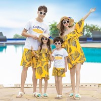 mom and daughter dress mother son outfits women casual yellow leaf print off shoulder dress girls summer holiday dress sundress