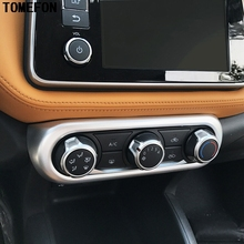 For Nissan Kicks 2017 ABS Chrome Carbon Fiber Paint Air Conditioner Switch Board Cover Trim Molding Auto Styling Car Accessories