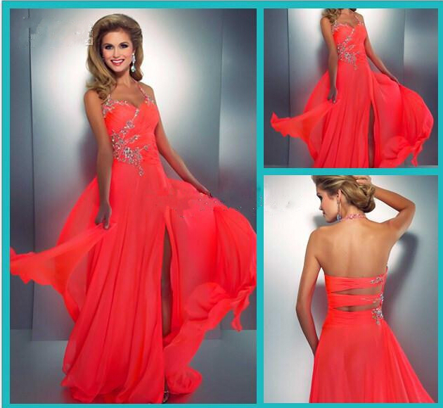 fae4cd4c9c97 Coral Colored Prom Dresses Embellished Halter Slit Chiffon Bright Hot Pink  Prom Dress Sexy Low Back Cut Out Neon Coral Gown