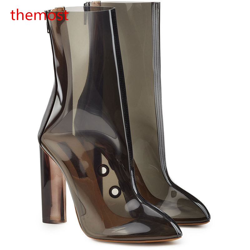 themost 2018 Europe and the United States crystal heels fashion new ladies sexy transparent boots size ladies women boots 34-48 europe and the united states women s new winter 2016 worn out show thin butterfly sequins loose nine points straight jeans