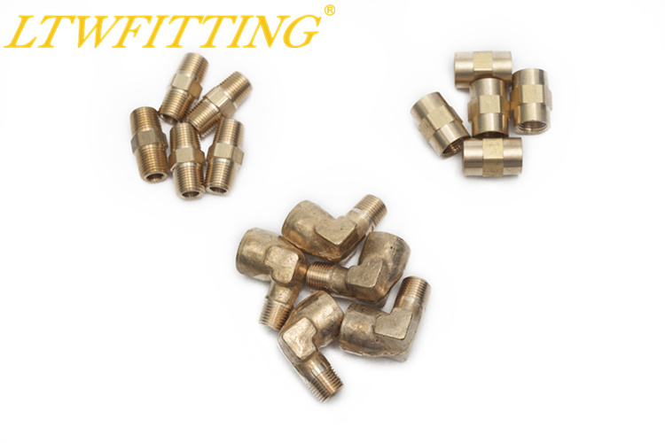 LTWFITTING Value Pack Brass 1/8 Pipe Female NPT Coupling, Hex Nipple,90 Deg NPT Street Elbow Forged Fitting brass pipe hex bushing reducer fittings 1 2 male x 1 8 female npt