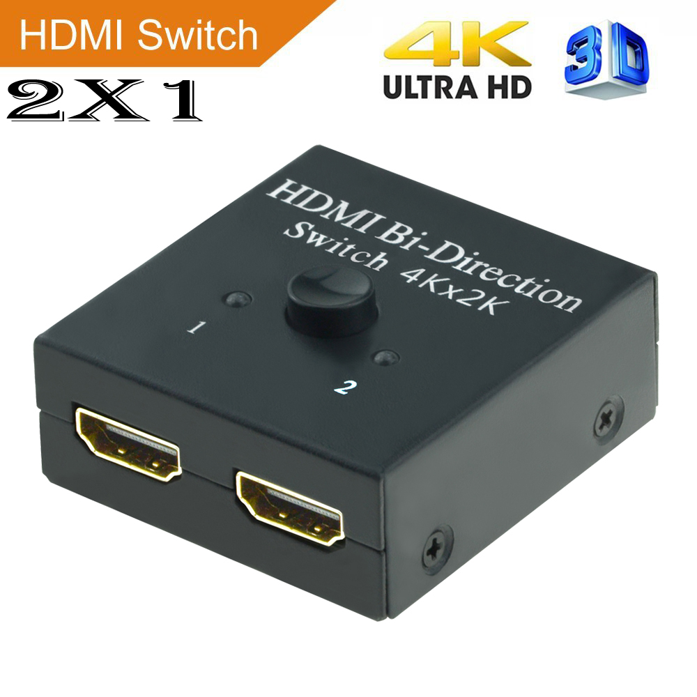 HDMI Switch 2X1,Aikexin 2x1 or 1x2 2 Port Ultra HD 4K/30Hz HDMI Bi-Directional Switcher with HDCP Passthrough for HDTV,Blu-Ray ...