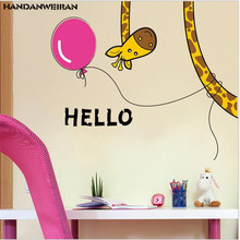 one piece Cartoon giraffe wall sticker funny animal door living room decoration kids decoration30*60cm