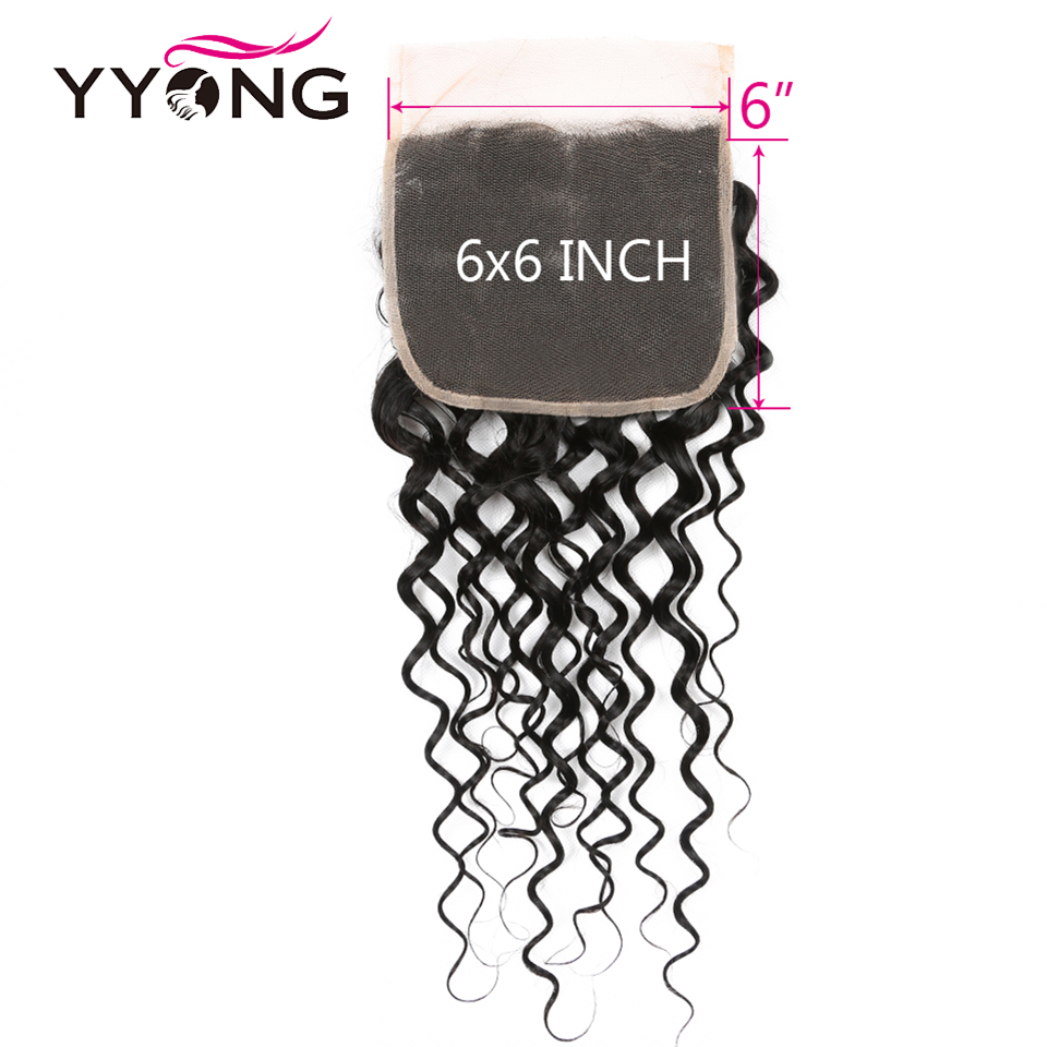 water wave human hair closure 6-6