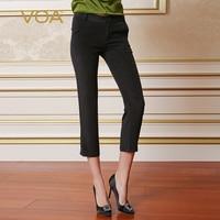 VOA heavy silk plain weave black straight ankle length pants European women regulrar high elastic dot pants K162