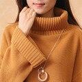 Mulheres camisola de inverno 2016 New chegada contratada solto grande casaco de gola alta Pulôveres De Lã das mulheres do sexo feminino promoção venda quente real