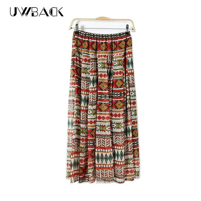 2017 nueva marca de verano de la gasa de la falda larga de las mujeres maxi bohemio falda jupe mujeres boho beach floral print mujeres faldas QB118