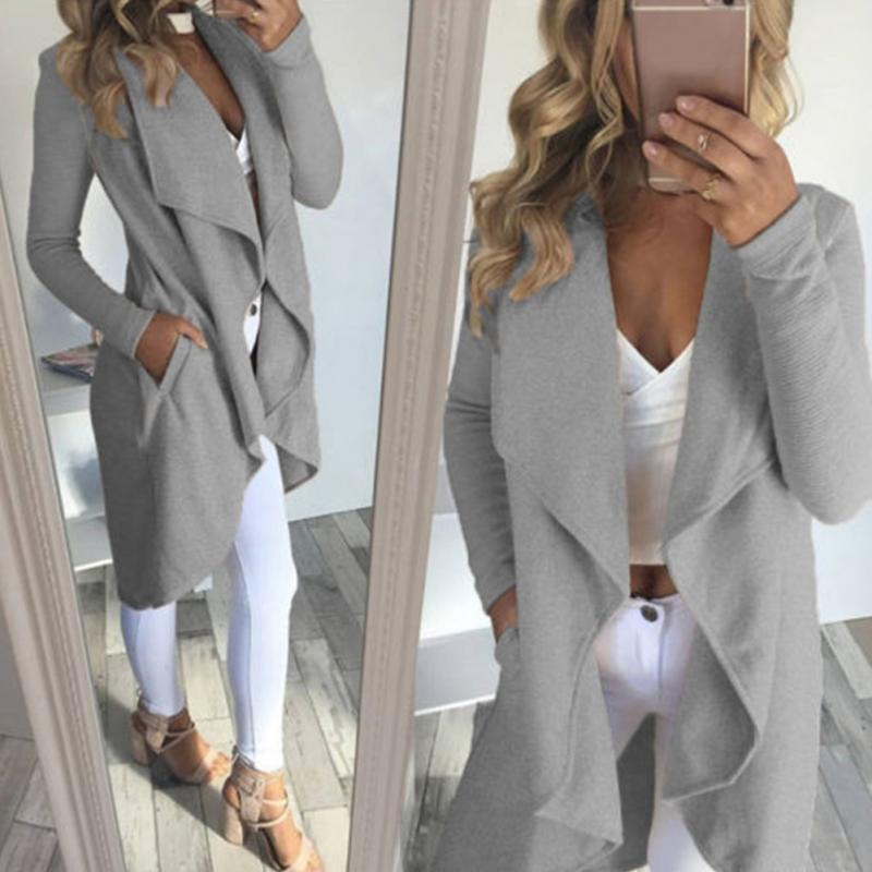 Fashion womens casual lapel collar Windbreaker overcoat Duster OL Ladies Long Sleeve straight type Coat Jacket Tops