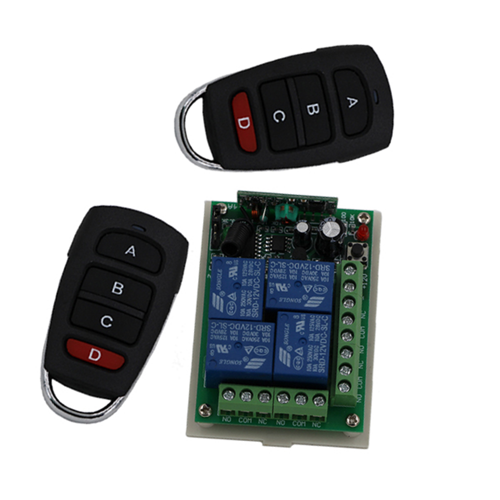 Smart Home DC12V 24V 4CH Wireless Remote Control 10A Relay Receiver Switch Module and RF Transmitter 315/433Mhz Remote Controls dc12v 4ch relay 10a rf wireless remote control switch system 1 receiver