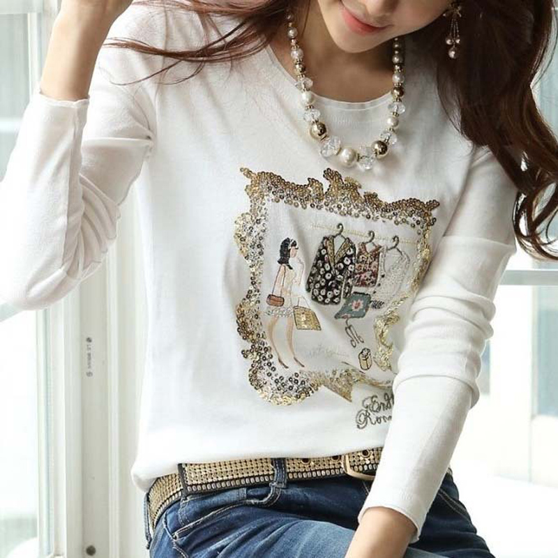 2018 Korean women 100% cotton Long sleeve Tops tees Round collar diamante paillette decoration basic   t     shirt   white.