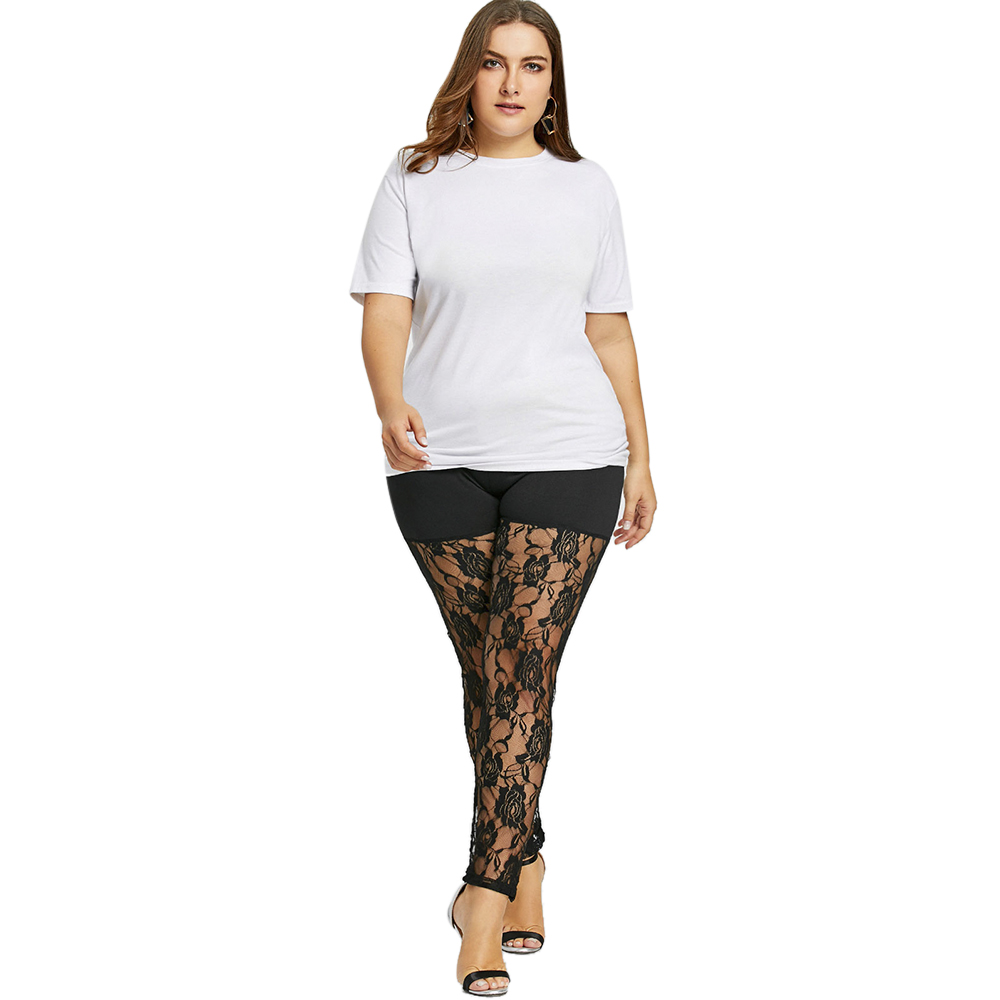 45afe64fab2 Gamiss High Waist Lace Pathwork Leggings Women Sexy Plus Size 5 Xl Sheer  Lace Panel Pants Legging Pants Leggings Summer Trousers-in Leggings from  Women s ...