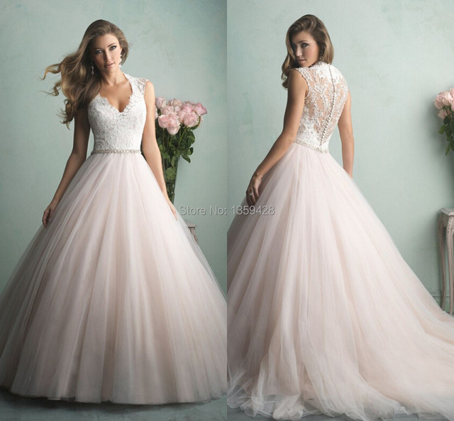 14e87196e High Fashion V Neck Sleeveless Illusion Back With Zipper Ball Gown Floor  Length Court Train Tulle