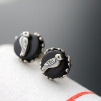 925 sterling silver earrings female model With natural ebony Thai silver bird earrings