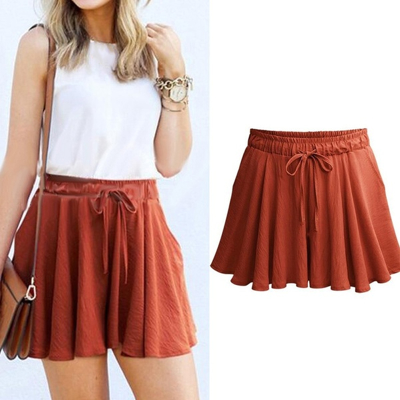 Women Sexy Bow Solid Casual Fit Elastic Waist Beach High Waist Shorts With String Women's Pure Color Wide Leg Shorts