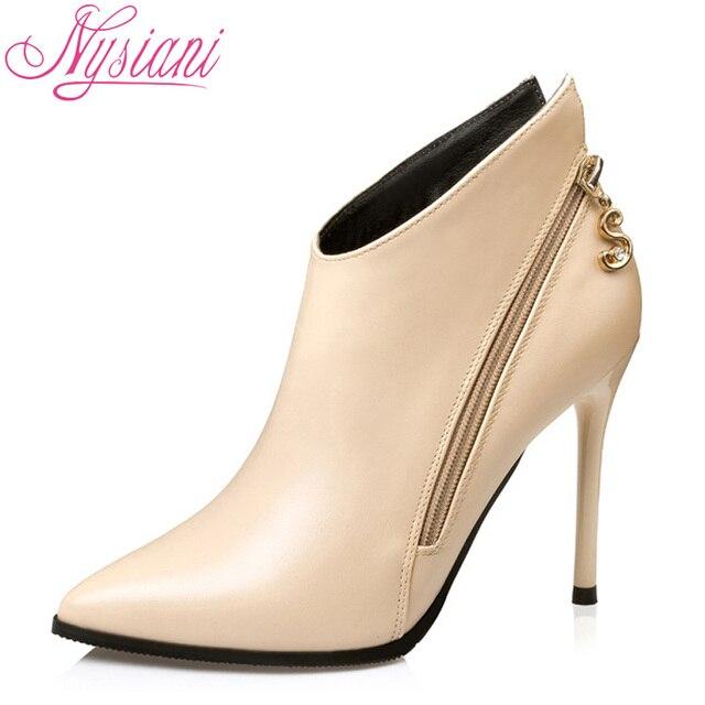 Осень Модная обувь на высоком каблуке Ботильоны обувь для женщин 2017 г. Брендовая дизайнерская обувь платье пикантные острый носок шпильки полусапожки Nysiani