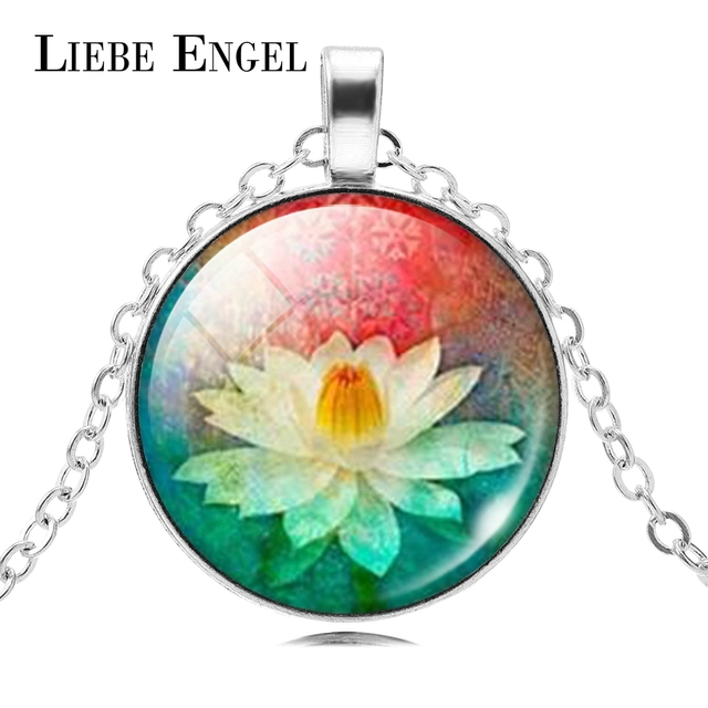 Liebe Engel Mandala Lotus Flower Necklace Pendant Om Symbol Buddhism