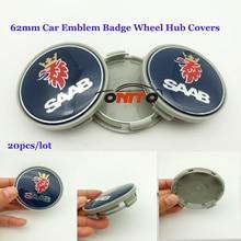 Автомобильные аксессуары 20 шт./компл. 62 мм автомобиля эмблема badg Логотип колеса Колпаки ступицы для SAAB 9-3 9-5 93 95 BJ SCS Сааб синий 60 мм колеса Наклейки
