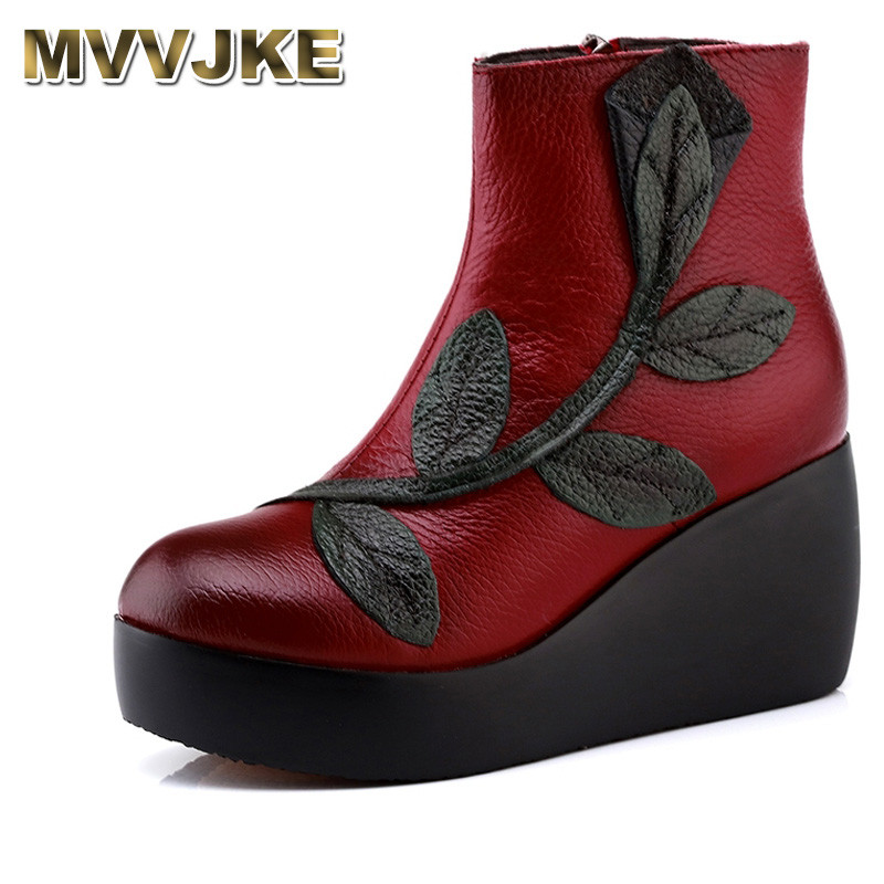 MVVJKE Ethnic Style Ankle Boots Genuine Leather Shoes Vintage Mom Women Shoes Retro Handmade Boots For Women original handmade autumn women genuine leather shoes cowhide loafers real skin shoes folk style ladies flat shoes for mom sapato