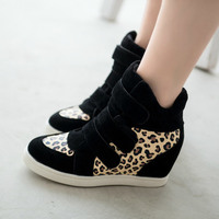 HOT New 2016 Brand Autumn Women Winter Shoes Leopard Suede Ankle Boots Heels Platform Wedge 5