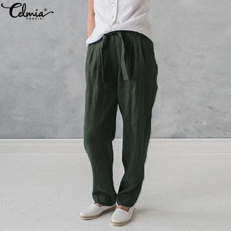 a1ce791151 Plus Size Celmia Women Cotton Linen Harem Pants Pockets Baggy Summer  Trousers Female Casual Work Office Pantalon Palazzo Pants | Your Fashion  Store Best ...