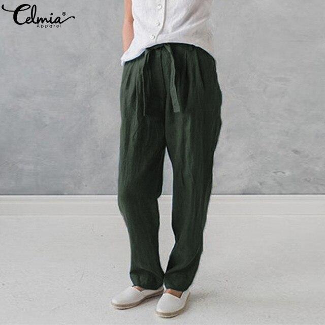 1d74debf0691 Plus Size Celmia Women Cotton Linen Harem Pants Pockets Baggy Summer  Trousers Female Casual Work Office