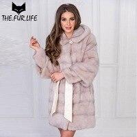 Popular Slim Long Real Mink Fur Coat With Leather Waist Belt Wholeskin Nature Fur Mink Jacket For Women Outerwear Clothes 2018