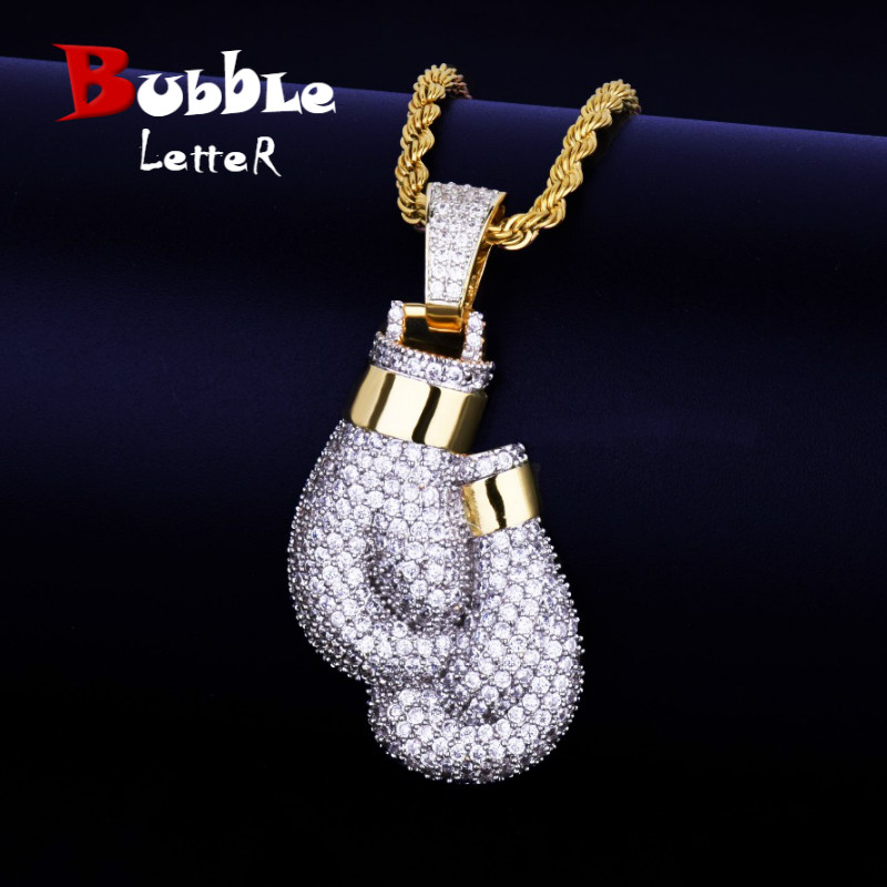 Bling Boxing Gloves Pendant Necklace & Pendant Charm Free Rope Chain Gold Color Iced Cubic Zircon Men's Hip hop Jewelry