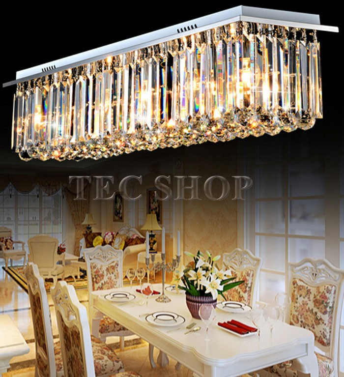 Best Price Modern Crystal Chandelier Light Rectangular LED Living Room Ceiling Lighting Fixtures Bar In Chandeliers From Lights