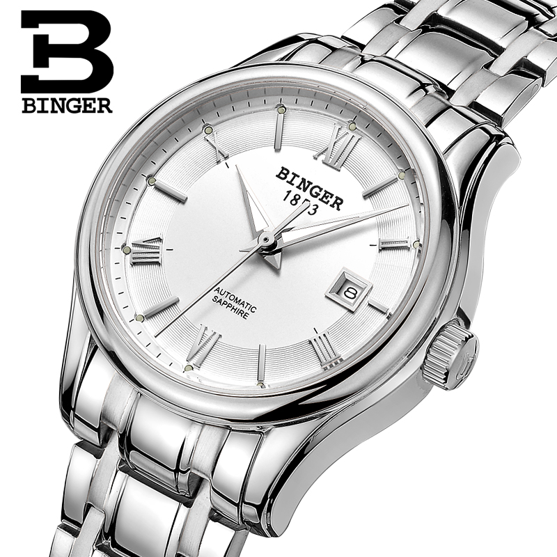 Switzerland BINGER Women s watches Luxury Brand Watch Women Mechanical Wristwatches Sapphire stainless Steel montre femme