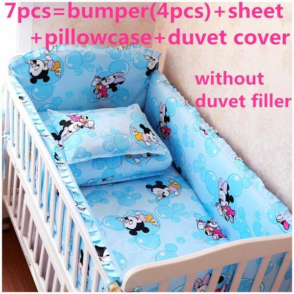 Descuento! 6 / 7 unids Mickey Mouse del bebé cuna juego de cama de algodón cortina cuna parachoques cuna conjunto, 120 * 60 / 120 * 70 cm