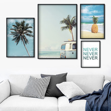 Coconut Tree Sky Sea Beach Pineapple Bus Wall Art Canvas Painting Nordic Posters And Prints Wall Pictures For Living Room Decor цена и фото