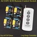 Умный дом дистанционный переключатель AC 220V 4CH свет лампы СИД SMD дистанционного включения выключения дальнего действия ручной передатчик кл...