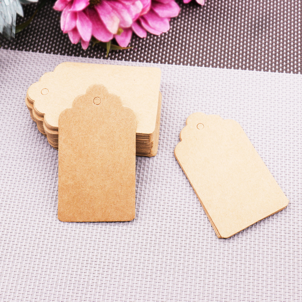 (4*2cm/ 5*3cm/7*4cm) 100pcs Kraft Paper Tags Wedding Birthday Party Gift Blank Card Home DIY Bottle Handing Card DIY Paper Craft