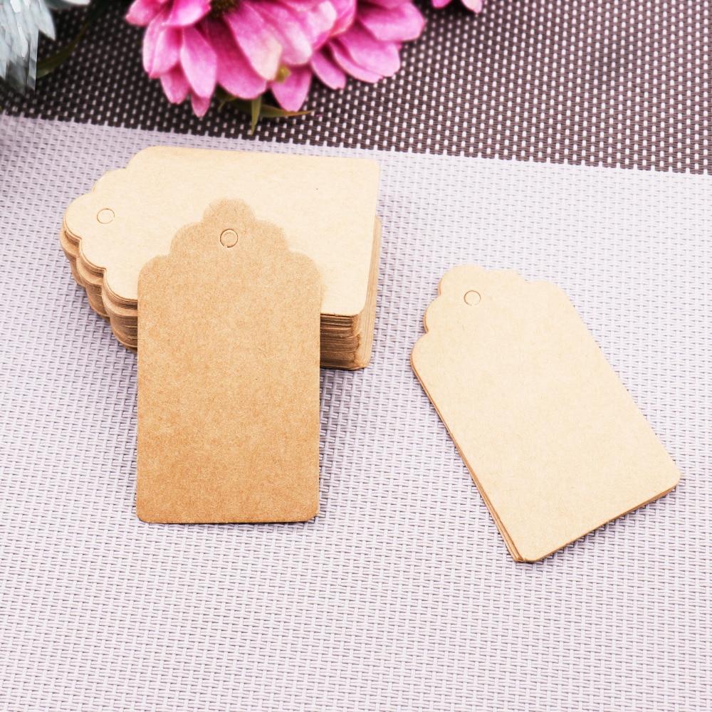 (4*2cm/ 5*3cm/7*4cm) 100pcs Kraft Paper Tags Wedding Birthday Party Gift Blank Card Home DIY Bottle Handing Card DIY Paper Craft