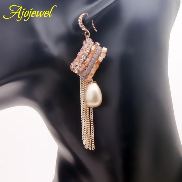 Ajojewel свадебные украшения класса люкс посеребренная большой имитация перл & австрийский кристалл падение долго кисточкой серьги для женщин