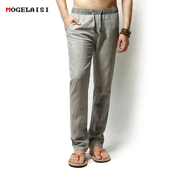 Straight Full Length Linen Cotton  Men's Trousers