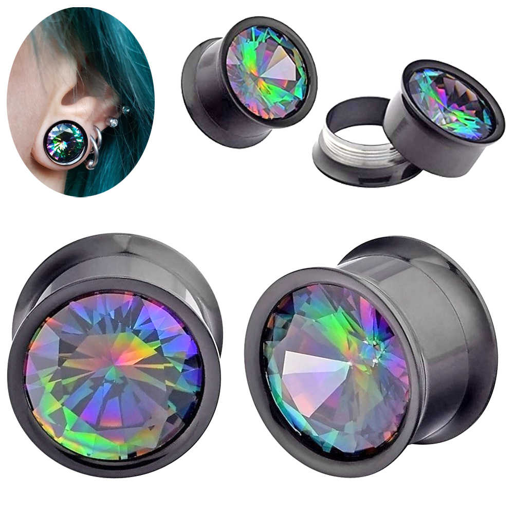PAIR Bling Rainbow Zircon Double Flared Internally Thread Screw Fit Ear Flesh Tunnel Plug Ear Gauge Expander Piercing Jewelry