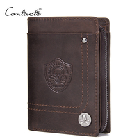 Brand Design CONTACT'S Wallet Genuine Cow Leather Men Wallets Vintage Portomonee PORTFOLIO Slim Mini Purse Vallet Money Bag and