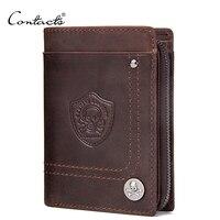 Brand Design CONTACT S Wallet Genuine Cow Leather Men Wallets Vintage Portomonee PORTFOLIO Slim Mini Purse