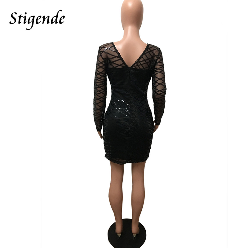 67bb1b9e92 US $17.53 34% OFF|Stigende Fashion Long Sleeve Glitter Mini Dress Women  Sexy Slim Bodycon Black Sequin Dress Clubwear See Through Mesh Party  Dress-in ...