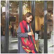 2016 Fashion font b Tartan b font Cashmere Scarf Women Patchwork Casual Blanket Scarf Chic Brand
