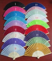 200pcs 2017 Brand New Folding Wedding Silk Fan Personalized Wedding Favors For Guests 18 color wa4012